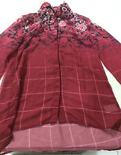 WOMEN'S RED SHEER FLORAL 'HOT OPTIONS' LONG SLEEVE SHIRT. SIZE 6. BNWOT (C72)