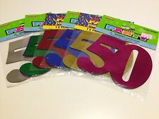 12 x 50 Birthday Party Foil Cutouts Numbers Assorted Colours | Decoration | 50th