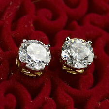 18ct yellow white gold filled GF round simulated diamond stud earrings classic