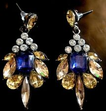 Blue & Amber Drop Statement Earrings•Boutique Gift Uk Glam Party Pretty Xmas NYE