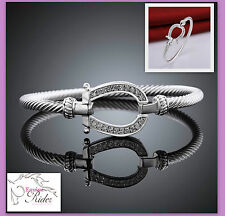 Silver Plated Horse Shoe Bangle  Bracelet with Crystals  - FREE Postage