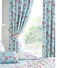 PAIR OF LINED CURTAINS 66 x 72 PENCIL PLEAT - TURQUOISE & PINK BLOSSOM