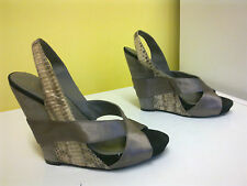 ASH Beige Leather Grey Satin Wedge Platform Shoes  -  size 39 / 6 UK  £149