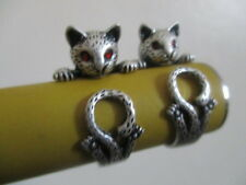 sweet cat  animal wrap round ring   resizeable  silver colour new