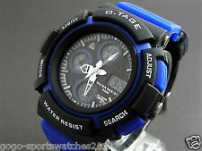 Blue Digital Analog Watch for Men Boy WR30M Alarm Date Day Running Biking Sydney