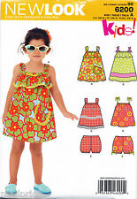 NEW LOOK SEWING PATTERN 6200 TODDLERS/GIRLS SZ ½-4 EASY SUN DRESS, TOP & PANTS