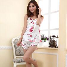 Summer Women's Sexy Satin Pyjamas Nightgown Sleepwear Smooth Silk Pajamas Set