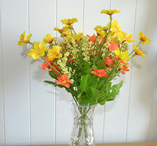 2x Blumenstrauß künstliche Blumen Kunstblumen Pflanzen gelb orange Dekoblumen