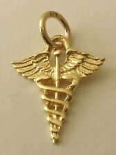 SOLID 9K  9ct Yellow Gold  CADUCEUS  MEDICAL SYMBOL Charm Pendant