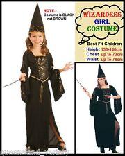 WIZARDESS Girl COSTUME & HAT Fancy Dress HALLOWEEN Birthday PARTY Child sz 5-7