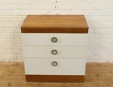Vintage White Chest of 3 Drawers, Teak handles 1960s Retro Bedroom Furniture