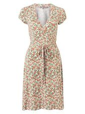 Review Size 16 BNWT Floral Adjustable Stretchy Wrap Dress Peach Cream Green
