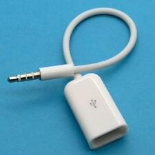 1PC 3.5mm Male AUX Audio Plug Jack to USB 2.0 Female Converter Cable Cord White