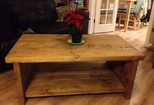 SOLID COFFEE TABLE WITH SHELVES,HOMEMADE,RUSTIC CHUNKY, LIGHT,MEDIUM,DARK OAK