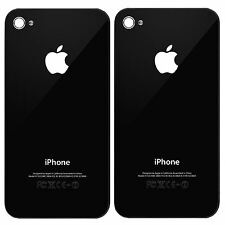 2X REPLACEMENT REAR BACK GLASS BATTERY COVER PANEL FOR IPHONE 4 BLACK