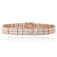 Rose Gold Plated 20ct Cubic Zirconia Double-Row Square Tennis Bracelet