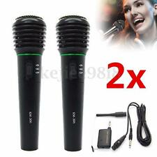 2Pcs 2in1 Pro Wireless Cordless Microphone Wired Professional DJ Singing Karaoke
