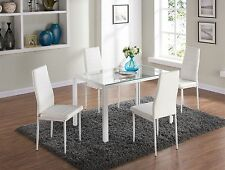Dining Table and Chairs Set Clear Glass Table with Four White Faux Leather Seats