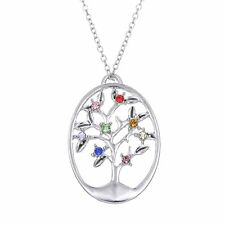 Lucky Tree of Life Oval White Gold Plated Pendant Long Chain Necklace Jewelry