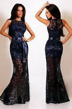 NEW navy Lace Long Evening Dress Size 10-12