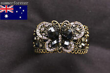 VTG Cameo Rhinestone Cuff Open Vogue Hollow Statement Bangle Bracelet