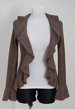 WOMENS MARKS&SPENCER CARDIGAN JUMPER CASHMERE ANGORA COTTON BROWN SIZE 8 EXC