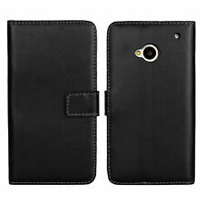 For HTC One M7 801s Black Genuine Leather Cash Card Wallet Case Cover Stands