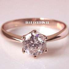 Genuine Real Solid 9K Rose Gold Ladies Engagement Wedding Ring Simulated Diamond
