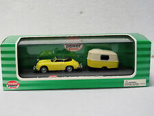 MODEL POWER diecast PORSCHE 356 with CARAVAN yellow #19695 1:87 HO New in box