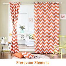 Moroccan Nordic Blockout Curtains Stripe Blackout Curtain Orange 180cm x 230cm