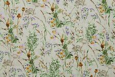 100% Cotton Makower's 'The Wild Flowers' Print Fabric Material (Pale Buttermilk)