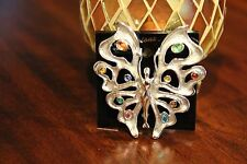 JJ Jonette Vintage Signed Artifacts Butterfly with stones GOLD Tone RARE