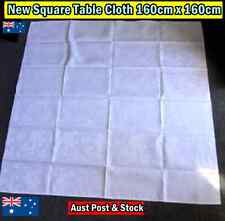 New Square Table Cloth 160cm x 160cm - White with subtle flower pattern