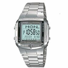 NEW CASIO DIGITAL MEN'S DATA_BANK WATCH STAINLESS STEEL BRACELET FREE BONUS