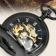 Classic Black Smooth Skeleton Windup Mechanical Vintage Chain Mens Pocket Watch