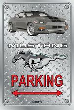 Parking Sign Metal MUSTANG 2015 Shelby GT- 02 GREY - Checkerplate Look