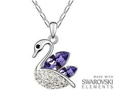 Made with Swarovski Elements Elegant Purple Swan Pendant and Necklace - £35