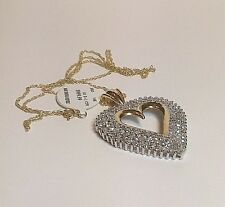 Vintage New 14K Yellow Gold Diamond 2 TCW Heart Pendant/Necklace 18""