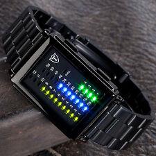 DETOMASO Spacy Timeline Herrenuhr Binär Edelstahl Schwarz LED Digital Neu