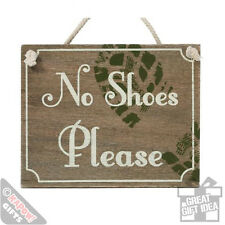 No Shoes Please Wooden Plaque. Retro Style Shabby Chic Decor Sign