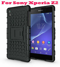 Black Heavy Duty Strong Tradesman TPU Hard Case Cover Stand For Sony Xperia Z2