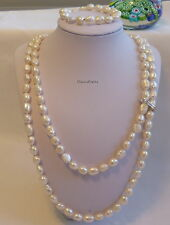 :Genuine Silver 8-9mm baroque freshwater pearl 2 strands necklace +bracelet set