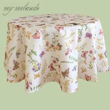 Tischdecke Gartentisch Sommer Textildruck Schmetterlinge & Blumen rund Ø 170 cm