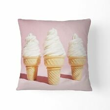 Pastel PINK Ice Cream Design Cotton Home Decor CUSHION COVER Throw Pillow 45cm