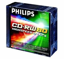 Philips CD-RW 80 Mins 700MB 4-12X Speed Recordable Blank Discs - 10 Pack w/ Case