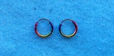 Pair Of Sterling Silver 925   Coloured Anodised Hoop Earrings 10 mm !!    New !!