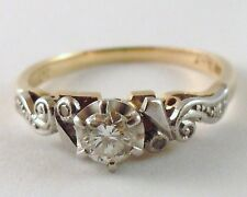 100% Genuine Vintage Solid 18k Yellow and White Gold 0.25 carats Diamond Ring