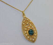 schöne Kette mit Topas-Anhänger & kl. Perlen / 585er 14 Karat Gold / 44 cm