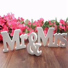 White Mr and Mrs Letters Sign Wooden Standing Top Table Wedding Decoration JN