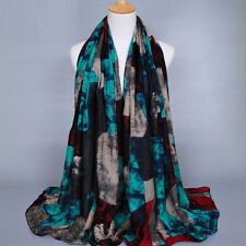 Womens Graffiti Long Scarves Ladies Soft Voile Wrap Shawl Scarf Neck Warm Stole
